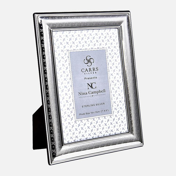Nina Campbell Sprig Engraved Sterling Silver Photo Frame With Black Wood Back
