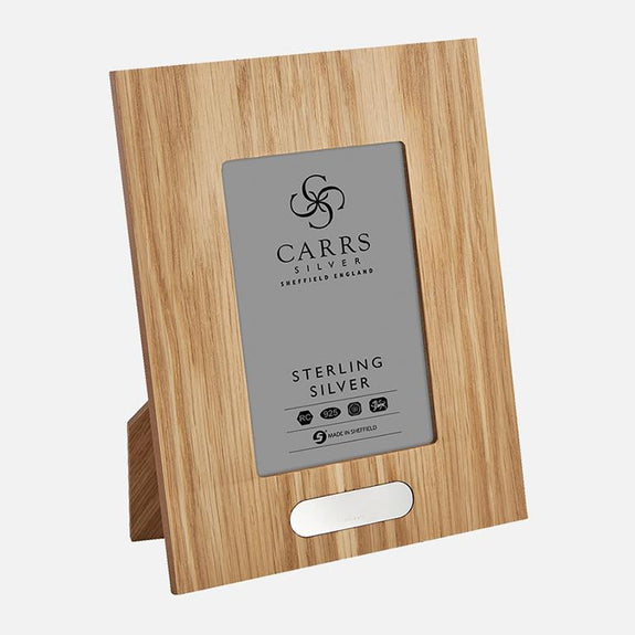 Oak Wood Back Photo Frame With Sterling Silver Inlaid Plaque