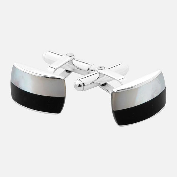 Onyx & Mother Of Pearl Sterling Silver Cufflinks