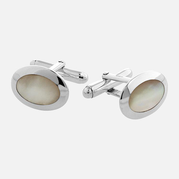 Oval Mother Of Pearl Cufflinks Sterling Silver