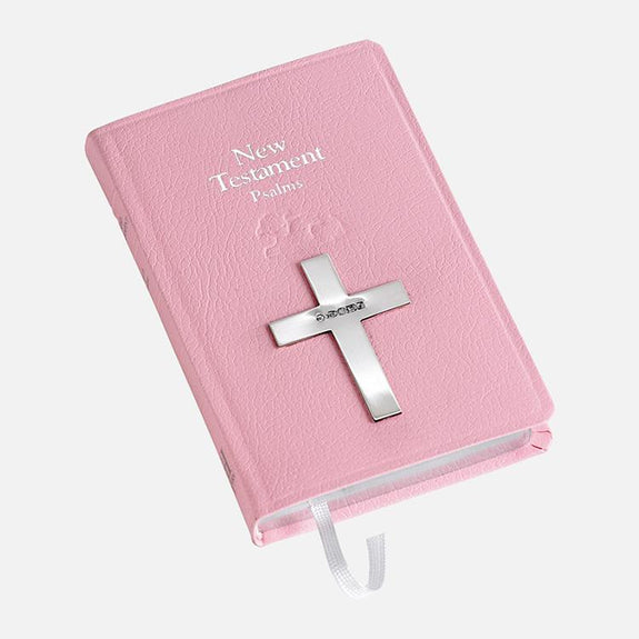 Pink New Testament Bible With Sterling Silver Cross
