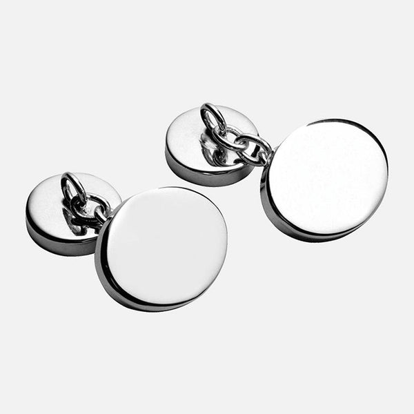 Plain Oval Sterling Silver Chain Cufflinks