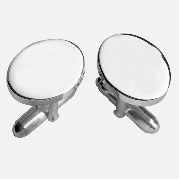 Plain Oval Cufflinks Sterling Silver