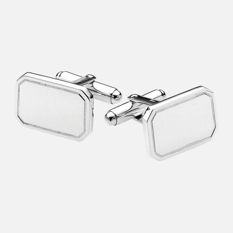 Plain Sterling Silver Rectangular Cufflinks