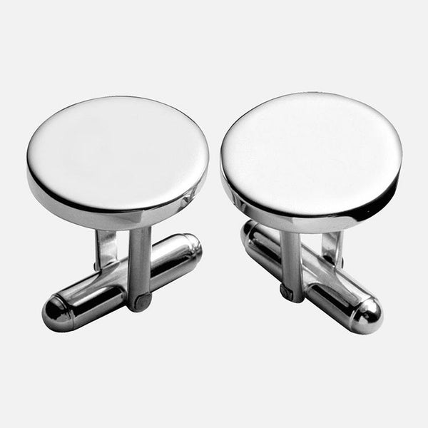 Plain Round Cufflinks Sterling Silver