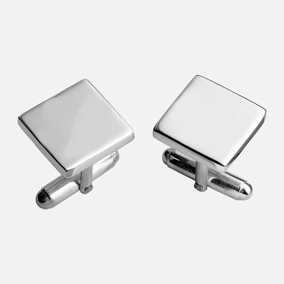 Plain Square Sterling Silver Cufflinks