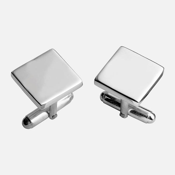 Plain Square Cufflinks Sterling Silver
