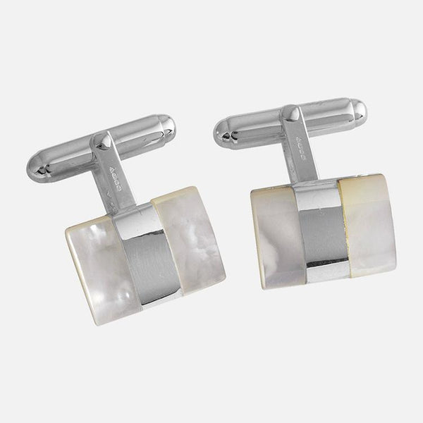 Rectangular Mother Of Pearl Stripe Sterling Silver Cufflinks