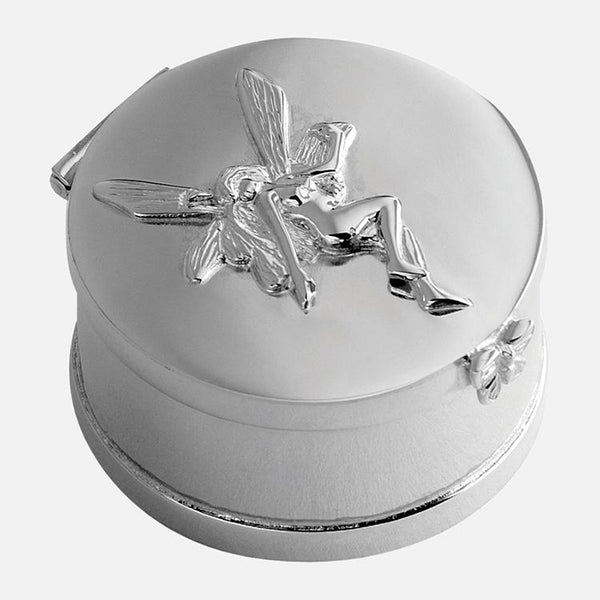 Sterling Silver Round Fairy Keepsake Box