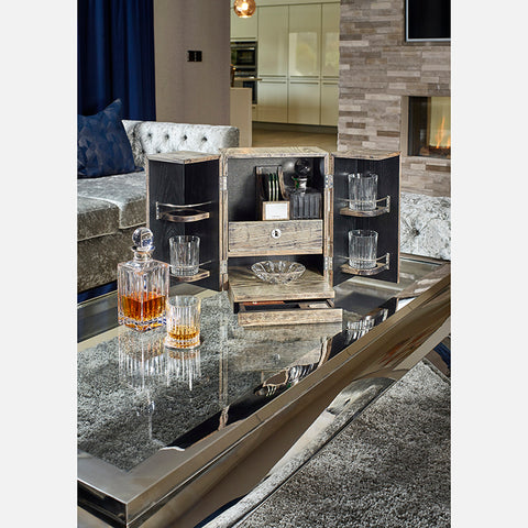 Bar Box With Crystal Decanters, Glasses & Sterling Silver Coasters