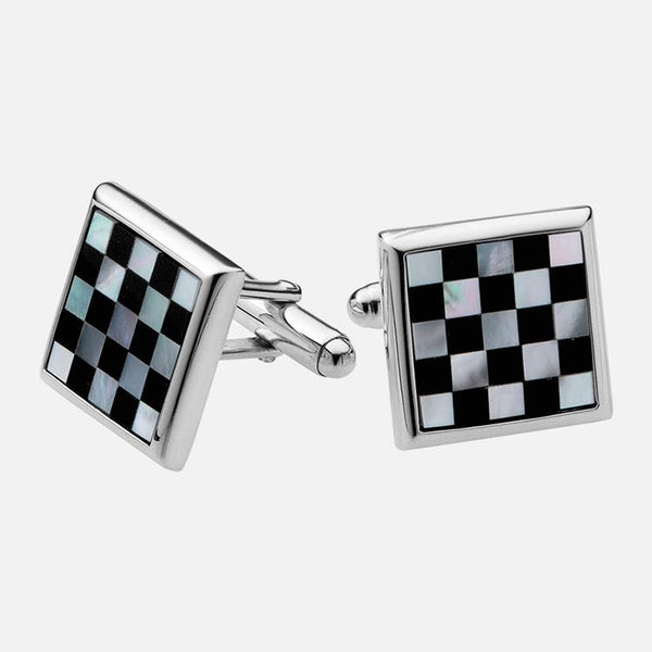 Square Chess Board Mother Of Pearl & Onyx Cufflinks Sterling Silver