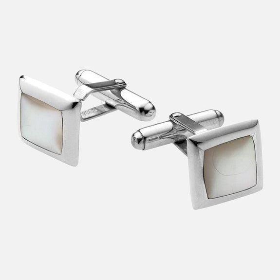 Square Sterling Silver Mother Of Pearl Cufflinks
