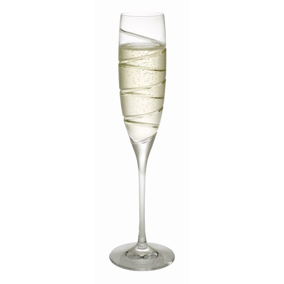 SALE - Swirl Crystal Champagne Flutes - GLASS608B2-GLASS/F