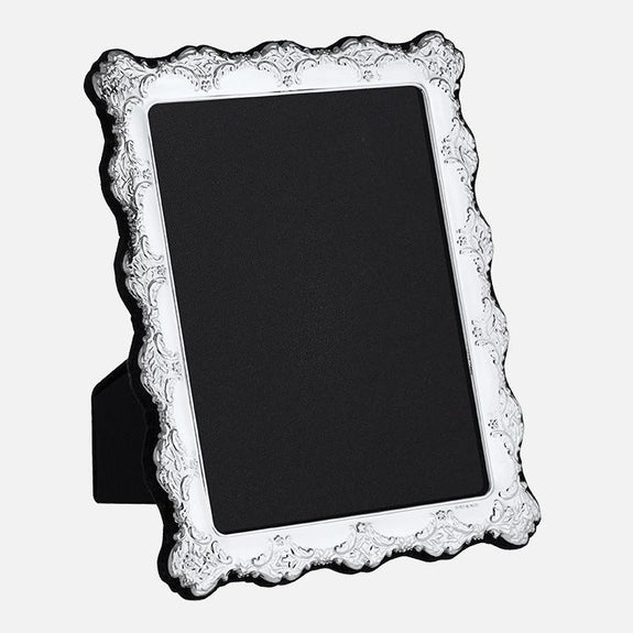 655cce41ca56 Traditional Photo Frame Grey Velvet Back 8x6 Sterling Silver