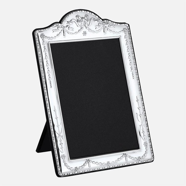 Traditional Sterling Silver Photo Frame With Grey Velvet Back