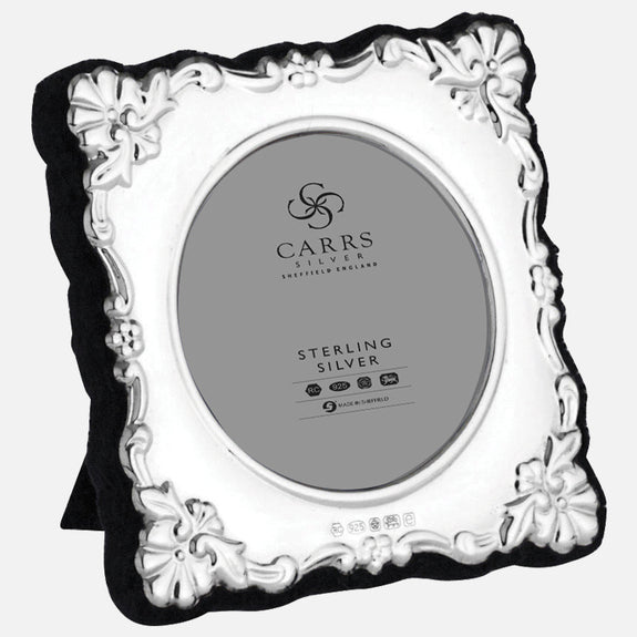 "Traditional Sterling Silver 2"" Photo Frame With Grey Velvet Back"