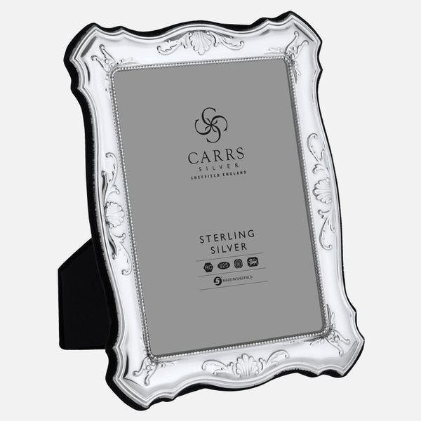 "Traditional 7"" x 5"" Sterling Silver Photo Frame With Grey Velvet Back"