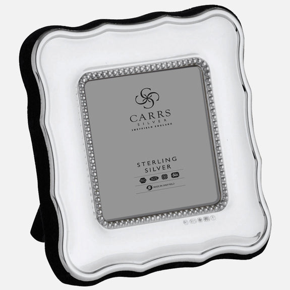 "Traditional 2"" x 2"" Sterling Silver Photo Frame With Grey Velvet Back"