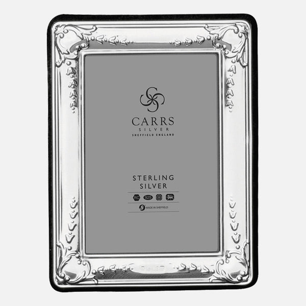 "Traditional 3.5"" x 2.5"" Sterling Silver Photo Frame With Grey Velvet Back"