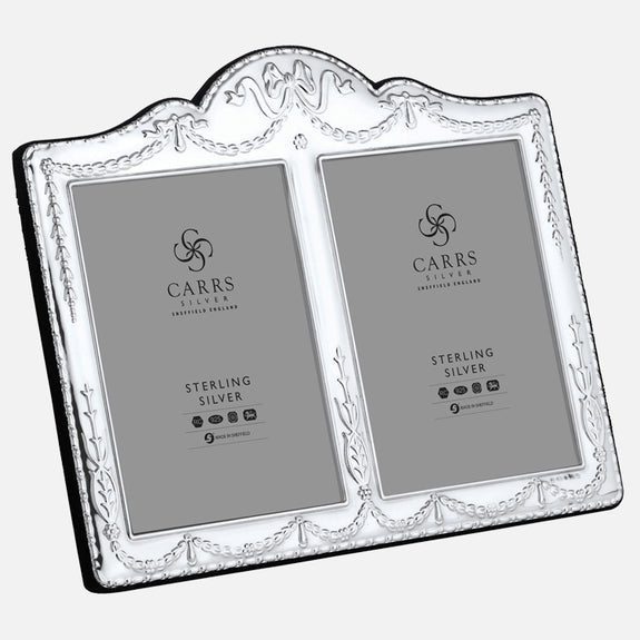 "Traditional Double 5"" x 3.5"" Sterling Silver Photo Frame With Grey Velvet Back"