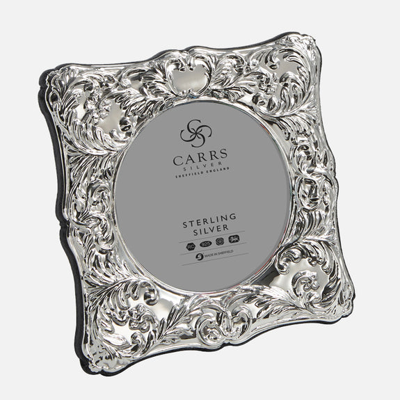 "Traditional 3.5"" Sterling Silver Photo Frame With Grey Velvet Back"