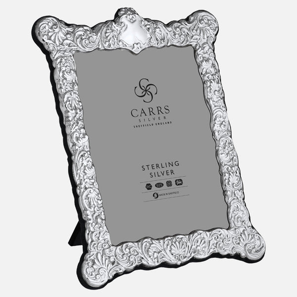 "Traditional 8"" x 6"" Sterling Silver Photo Frame With Grey Velvet Back"