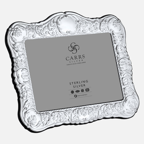 "Traditional 5"" x 7"" Sterling Silver Photo Frame With Grey Velvet Back"