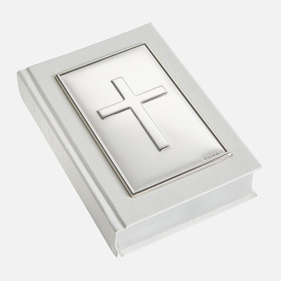 White Holy Bible Plain Cross Sterling Silver