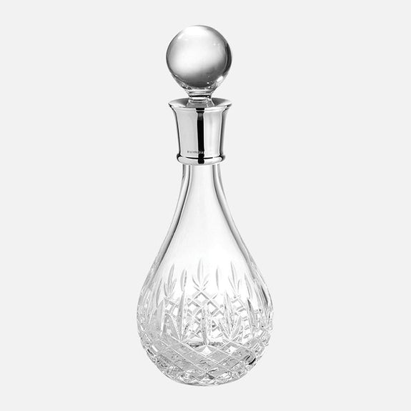 Wine Decanter Sterling Silver Henley Cut 24% Lead Crystal