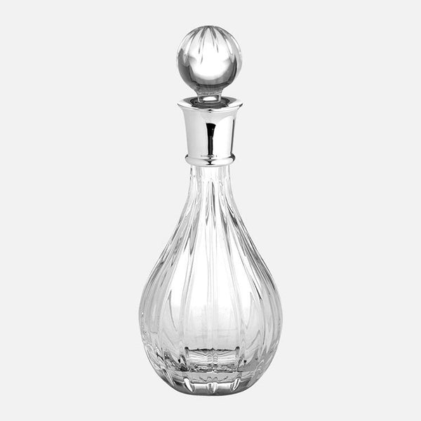 Wine Decanter Sterling Silver Linear Cut 24% Lead Crystal
