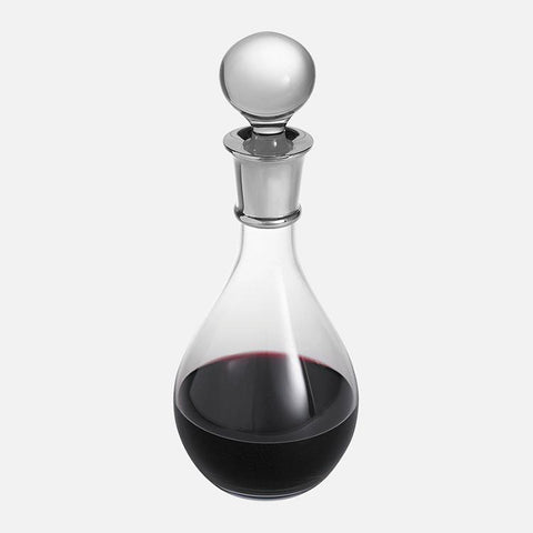 Wine Decanter Sterling Silver Plain Crystal