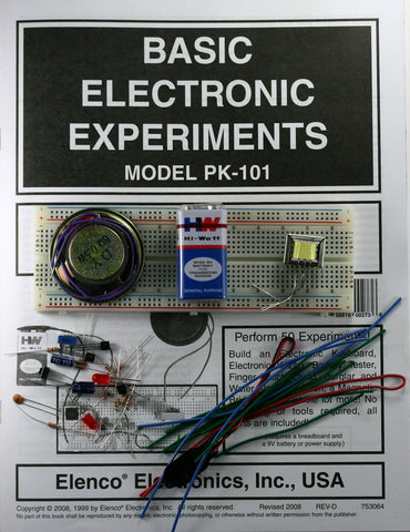 Basic Electronics Experiments Kit w/Breadboard and Parts