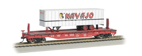 Santa Fe 52ft flat car w/ Navajo Freight Lines 35ft Trailer(HO)