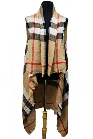 A New Day Plaid Vest - Camel