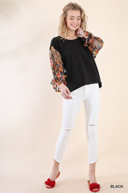 The Sherry Embroidered Puff Sleeve Top - Black