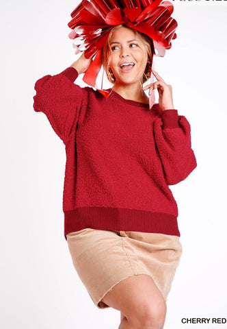 It Girl Puff Sleeve Boat Neck Sweater - Red