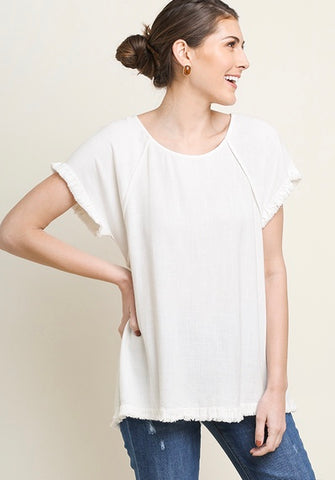 Uptown Chic Linen Top - Off White