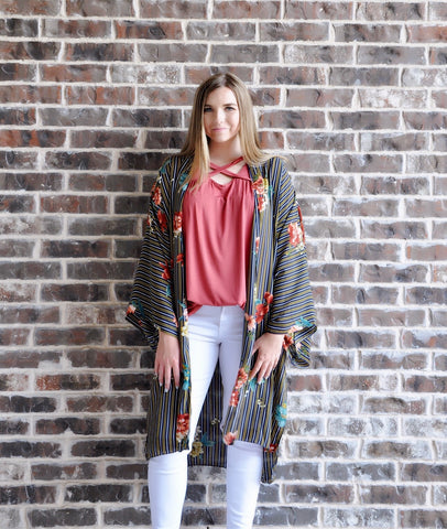 Navy Floral And Stripes Kimono