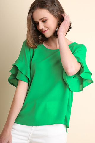 Nancy Layered Ruffled Sleeve Top - Green