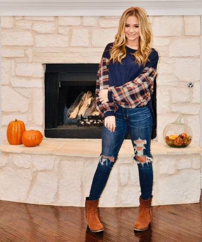 Bonfire Snuggles Plaid Puff Sleeve Top
