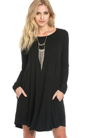 Bamboo Long Sleeve Dress - Black
