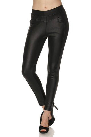 Premium Fleece Lined Faux Leather Leggings With Pockets