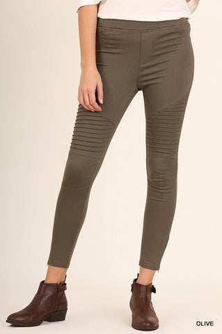 Washed Moto Skinny Jeggings - Olive