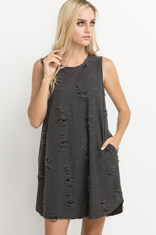 I Can't Get Over It Dress- Charcoal