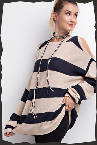 In The Moment Cold Shoulder Stripe Tunic