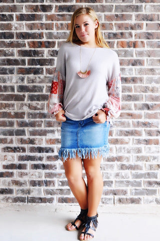 Boho Babe Patchwork Sleeve Top