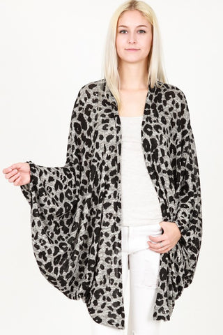 Lauren Animal Print Cardigan Poncho