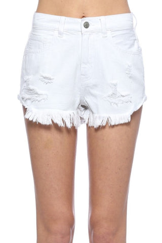 High Waisted Vintage Denim Shorts | White