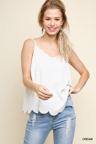Scalloped Cami - Cream