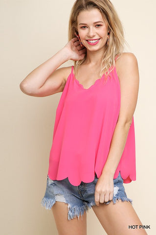 Scalloped Cami | Hot Pink